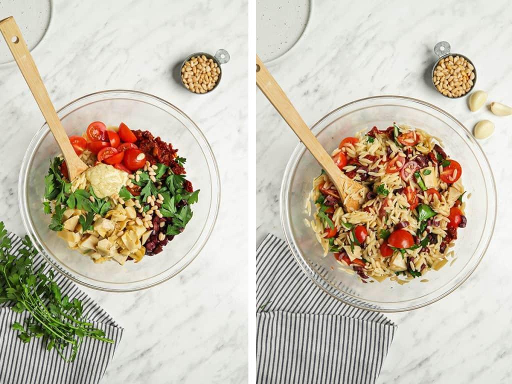 mediterranea orzo salad ingredients in a bowl.