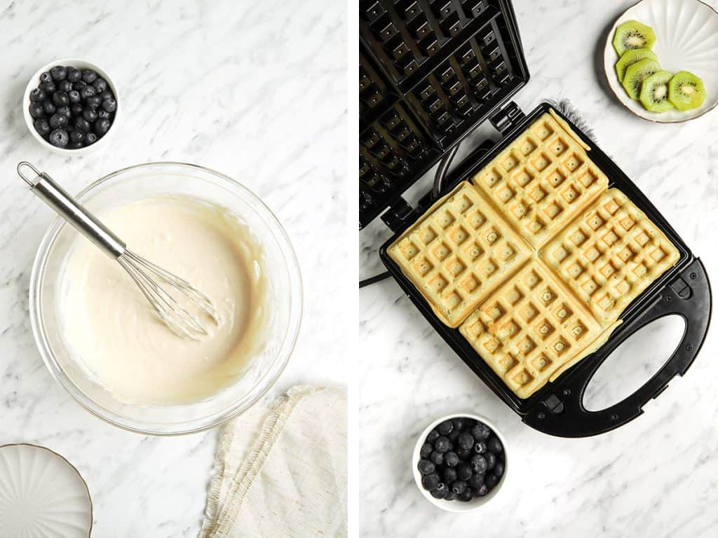 waffle batter poured into a waffle maker