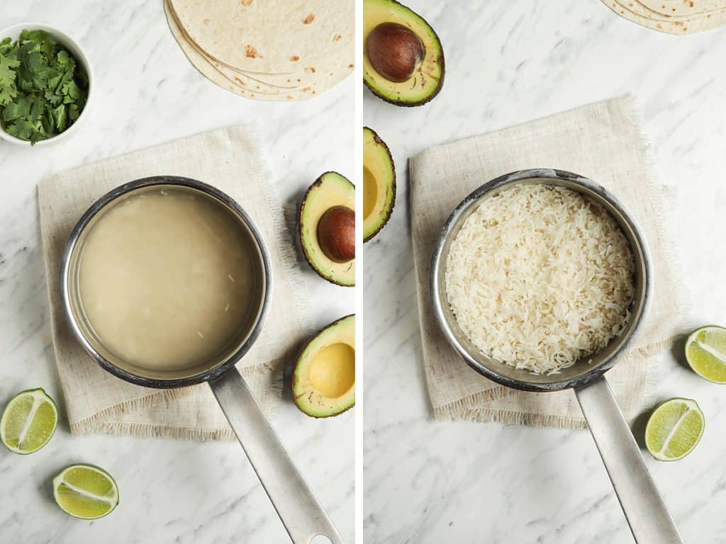 left: rice cooking in pan with water. right: finished rice fluffed and ready to serve