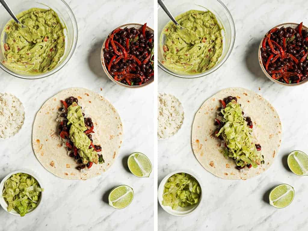 instructions for vegan burritos with tortillas being stuffed with rice and beans, guacamole, and lettuce