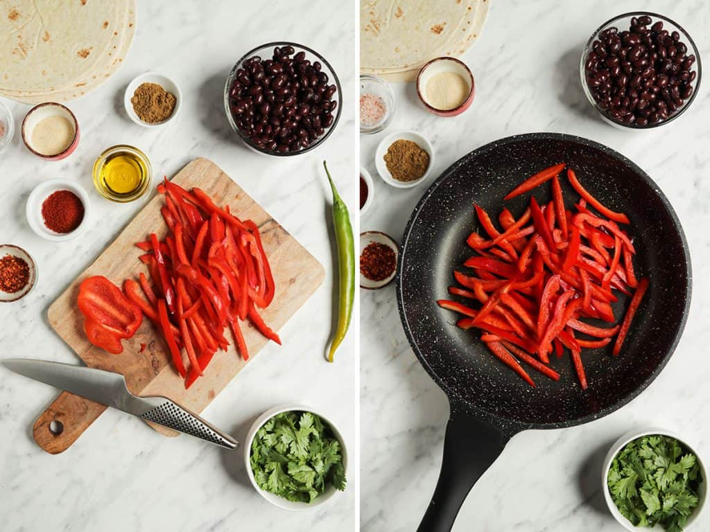 Right: sliced bell pepper on cutting board. Left: red bell peppers sautéed in a large skillet.