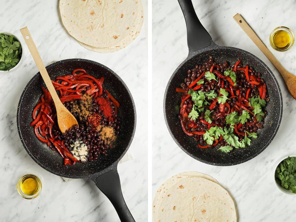 peppers and beans cooking in large skillet with cilantro and spices