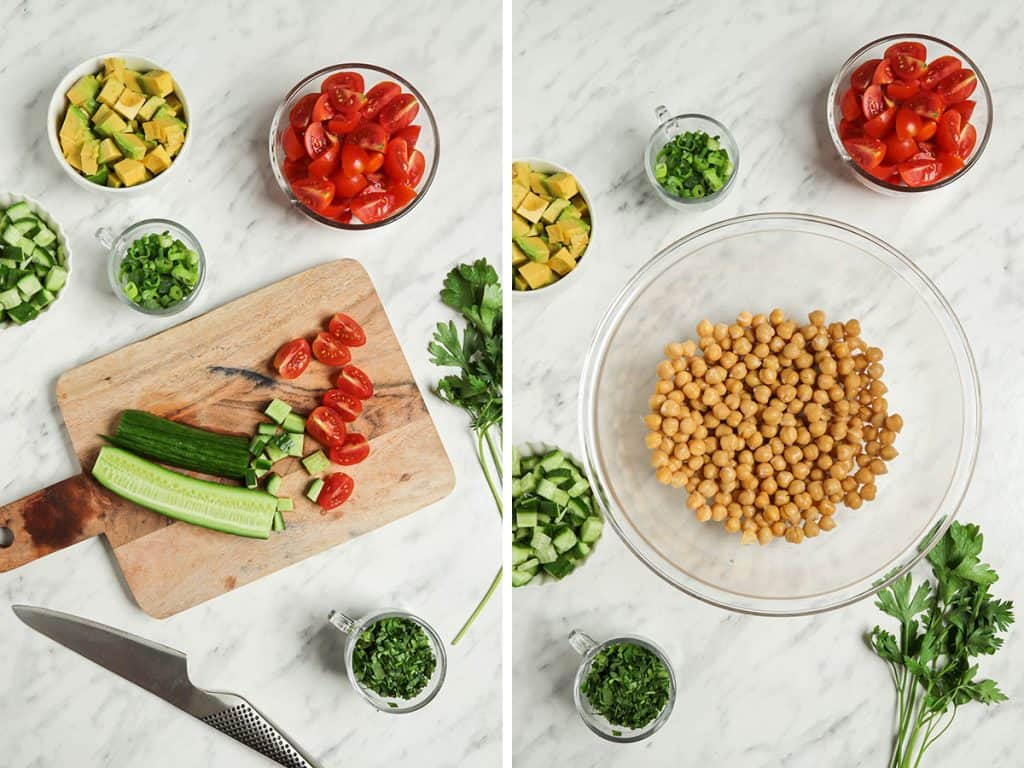 photos of cucumber being sliced with knife and a bowl of chickpeas