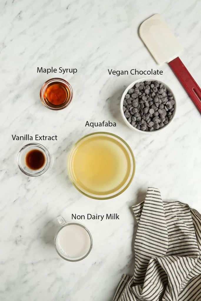 maple syrup, chocolate, vanilla extract, aquafaba, and non dairy milk