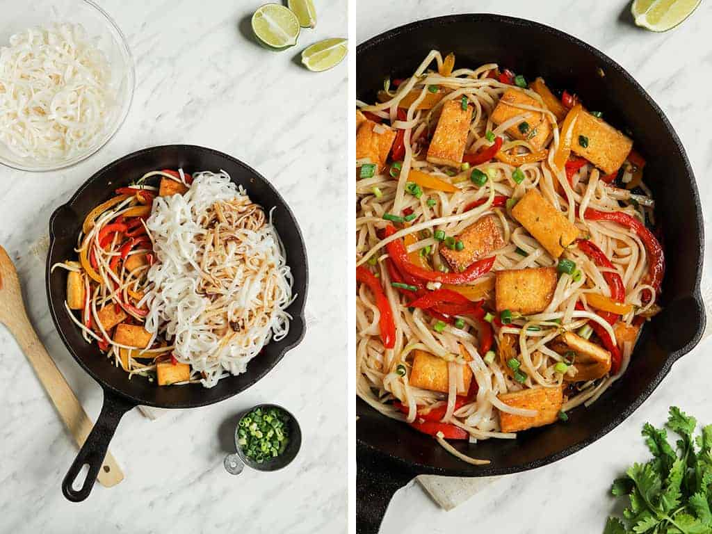 rice noodles and tofu with vegetables mixed in skillet