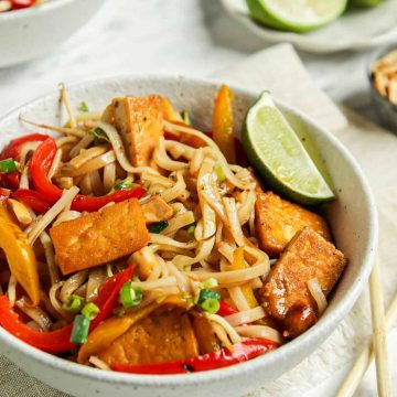 one bowl of pad Thai with lime and tofu