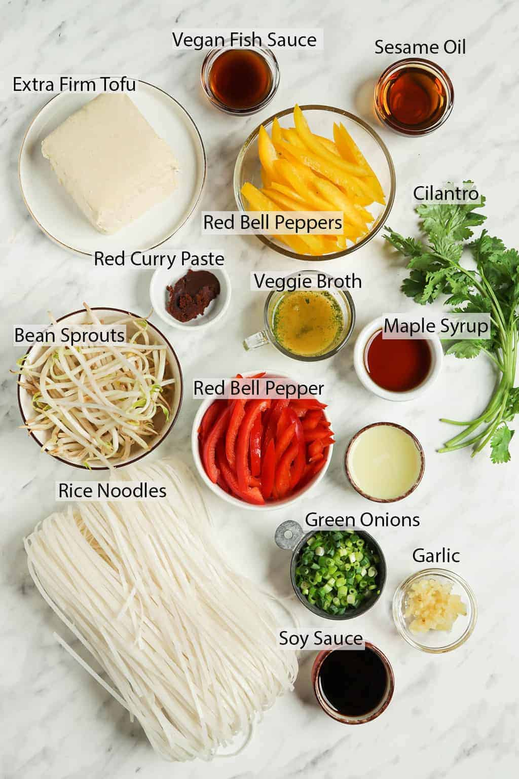 maple syrup, bell peppers, rice noodles, bean sprouts, veggie broth, red curry paste, cilantro, green onions, garlic, tamarind