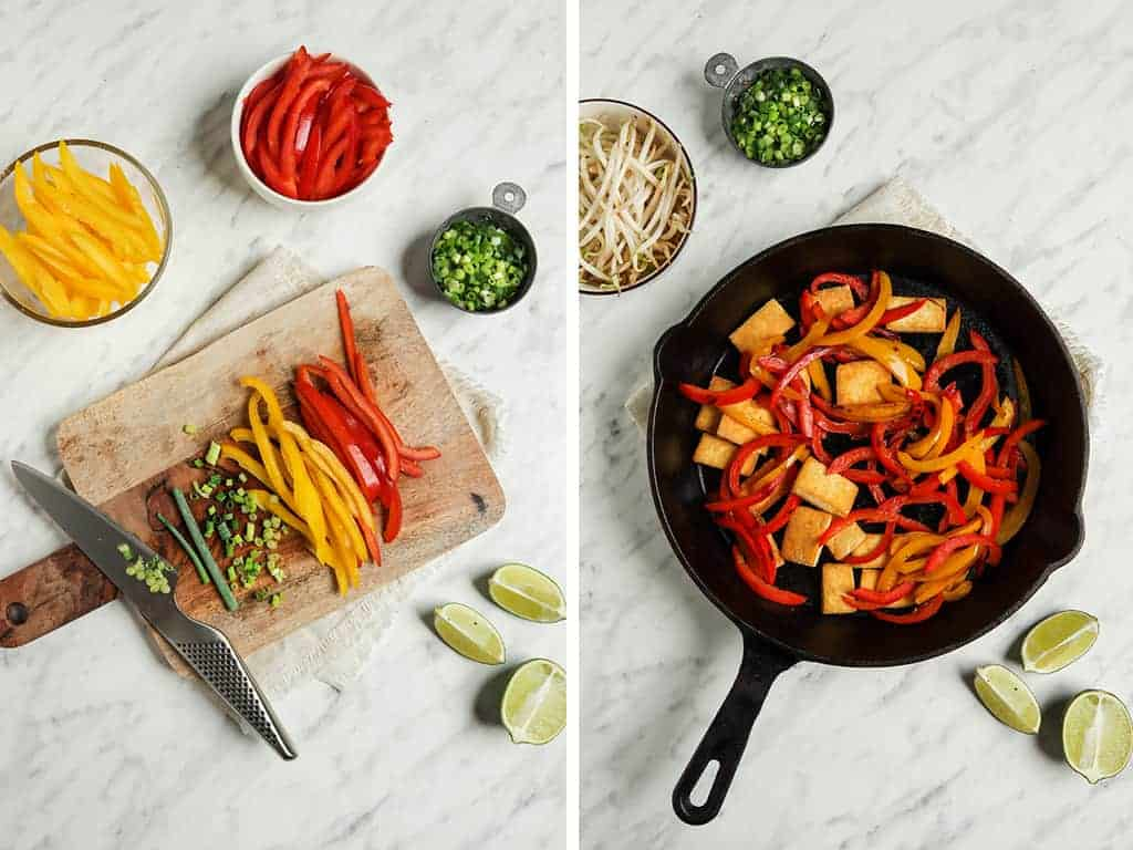 sliced bell peppers on cutting board, then transferred to cast iron skillet with tofu