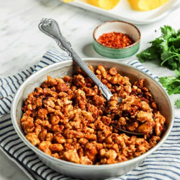 one bowl of tempeh taco meat