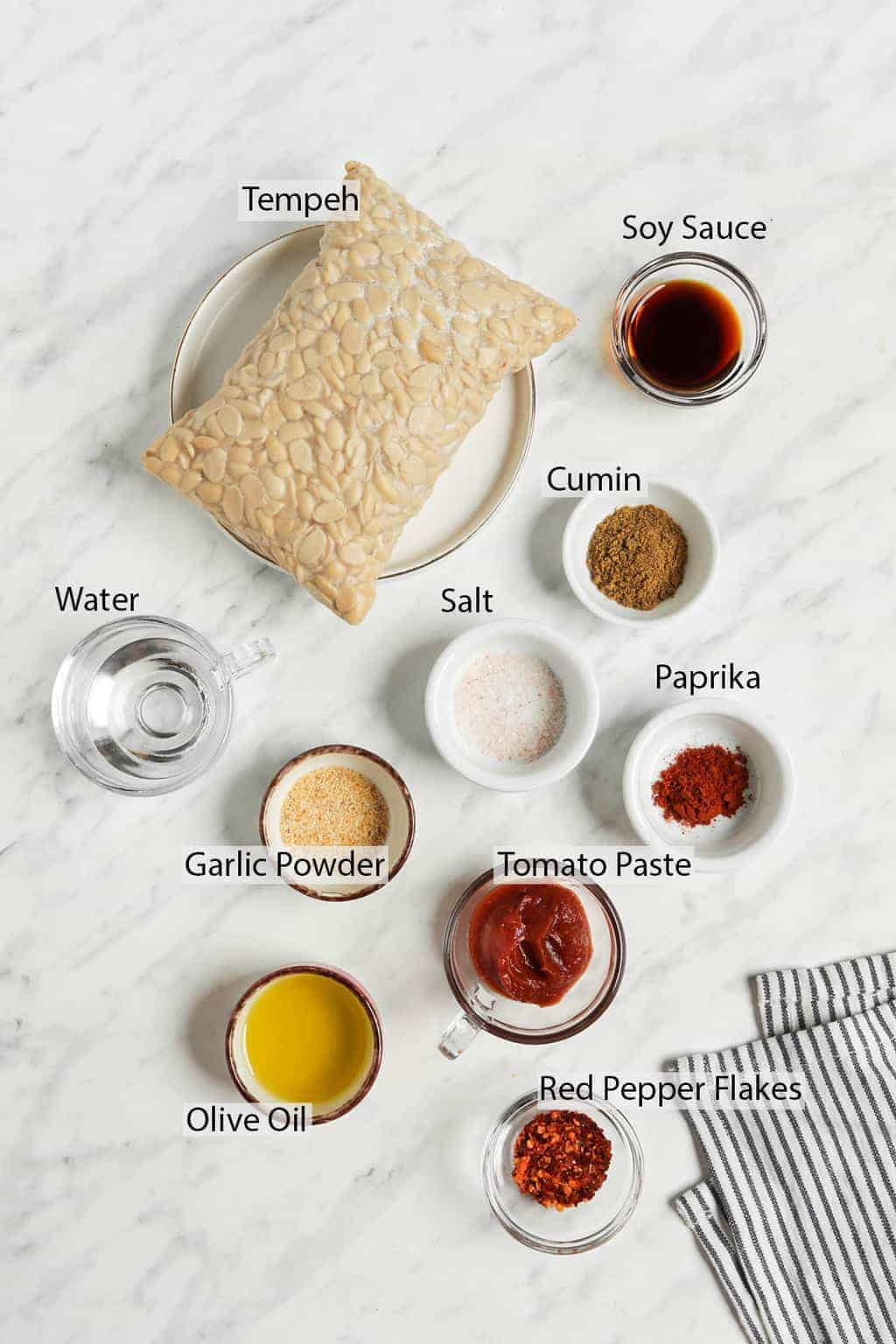 ingredients for tempeh taco meat