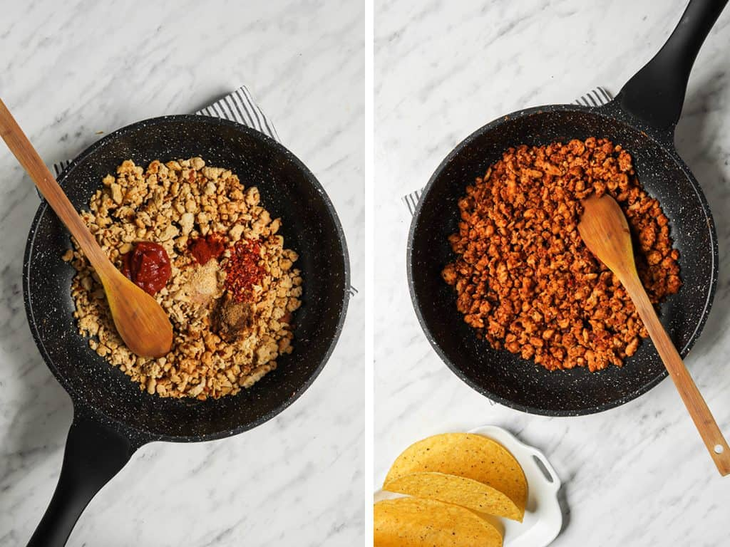 process steps for cooking tempeh taco meat in pan with spoon
