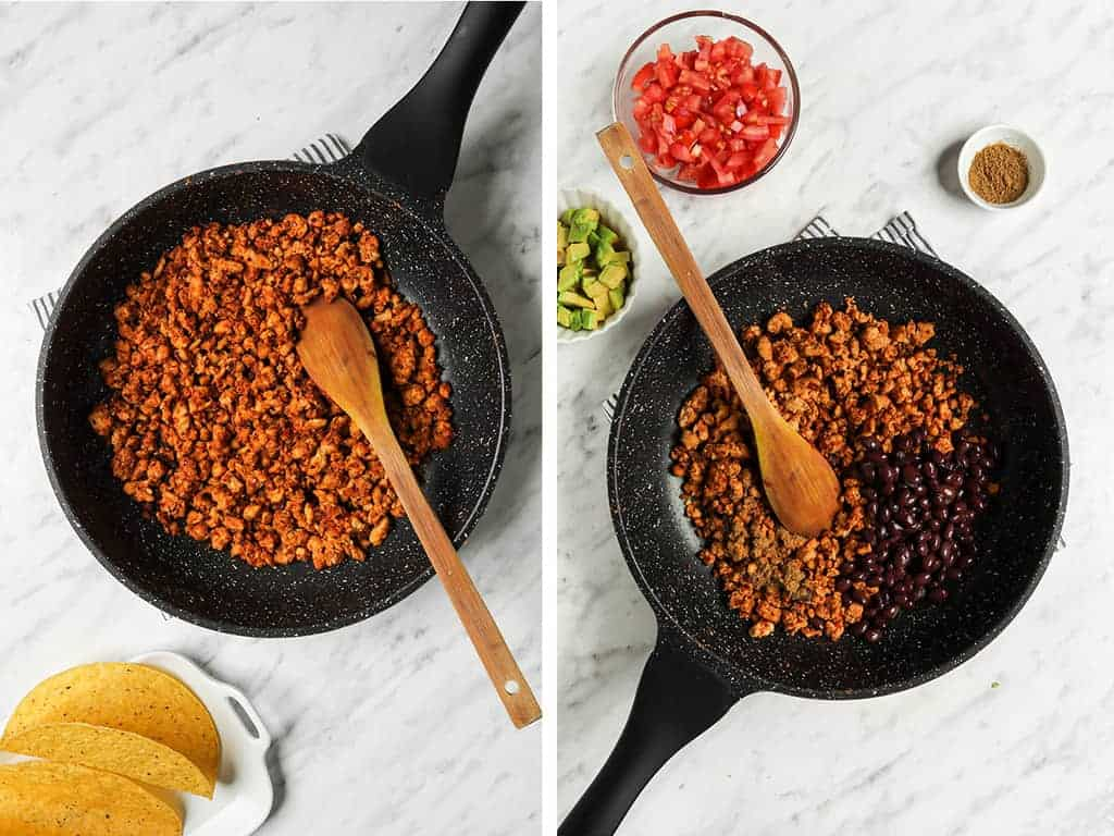 tempeh taco meat being cooked in skillet with black beans