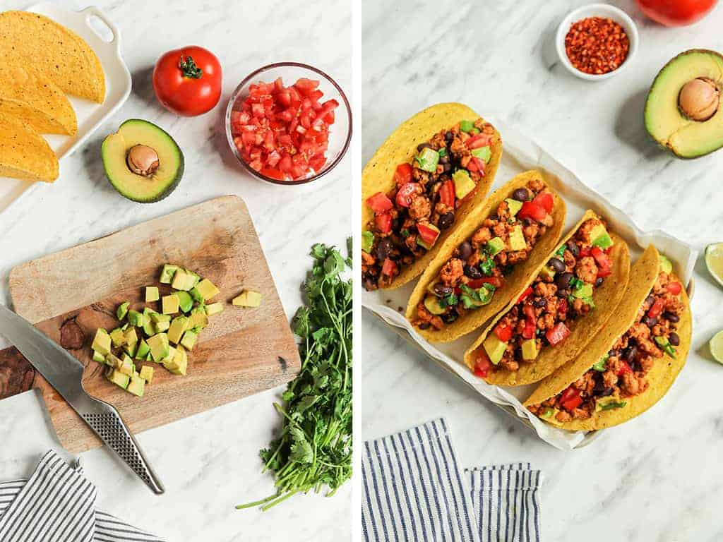 avocado being sliced on cutting board with knife and four tacos placed on plate
