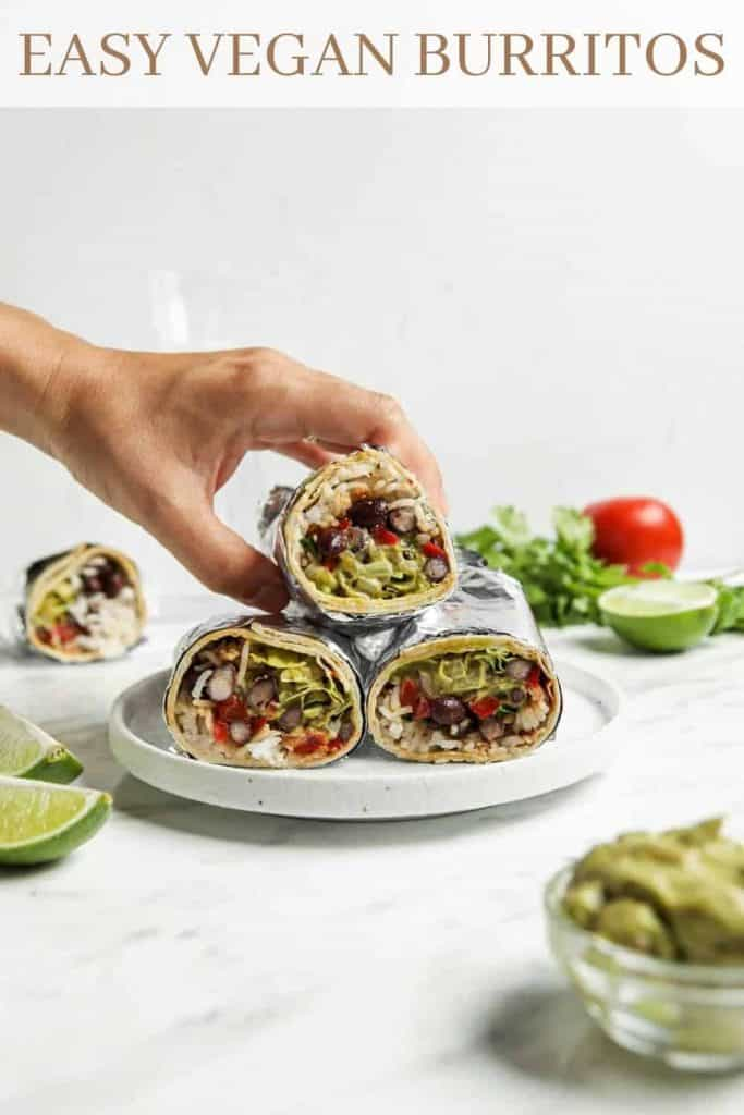 three burritos on plate with Pinterest text