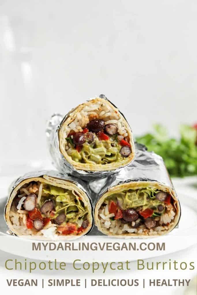 three burritos on plate
