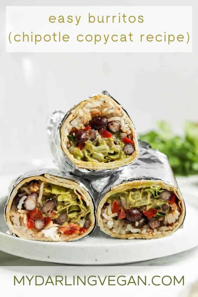 Pinterest graphic for easy vegan burritos
