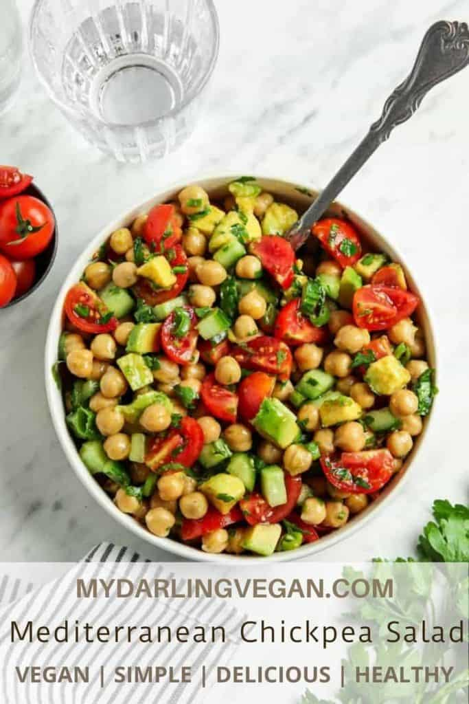 Top view of chickpea salad with spoon
