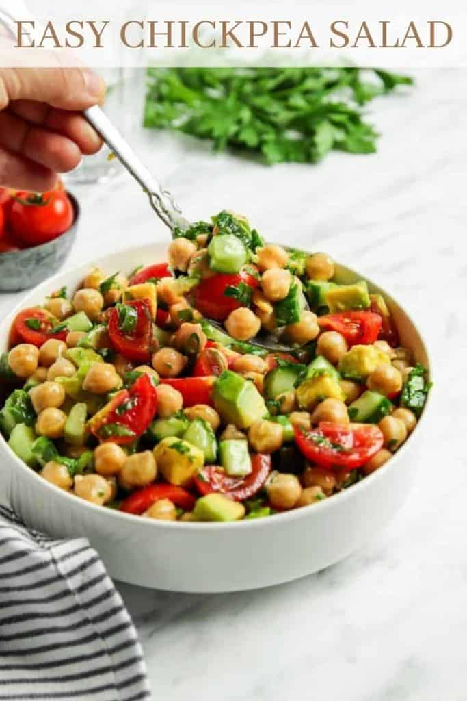 Pinterest graphic for Greek chickpea salad