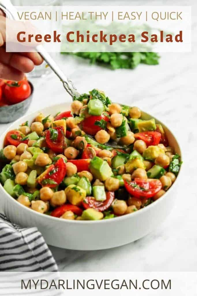 Pinterest graphic for chickpea salad