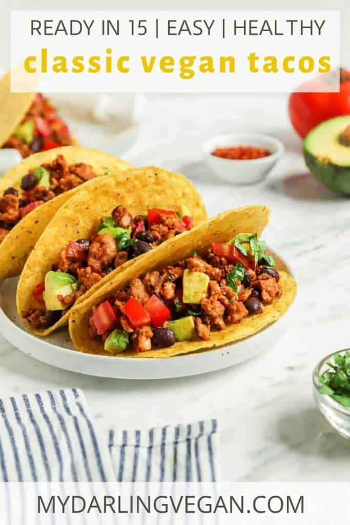 Pinterest graphic for vegan tacos