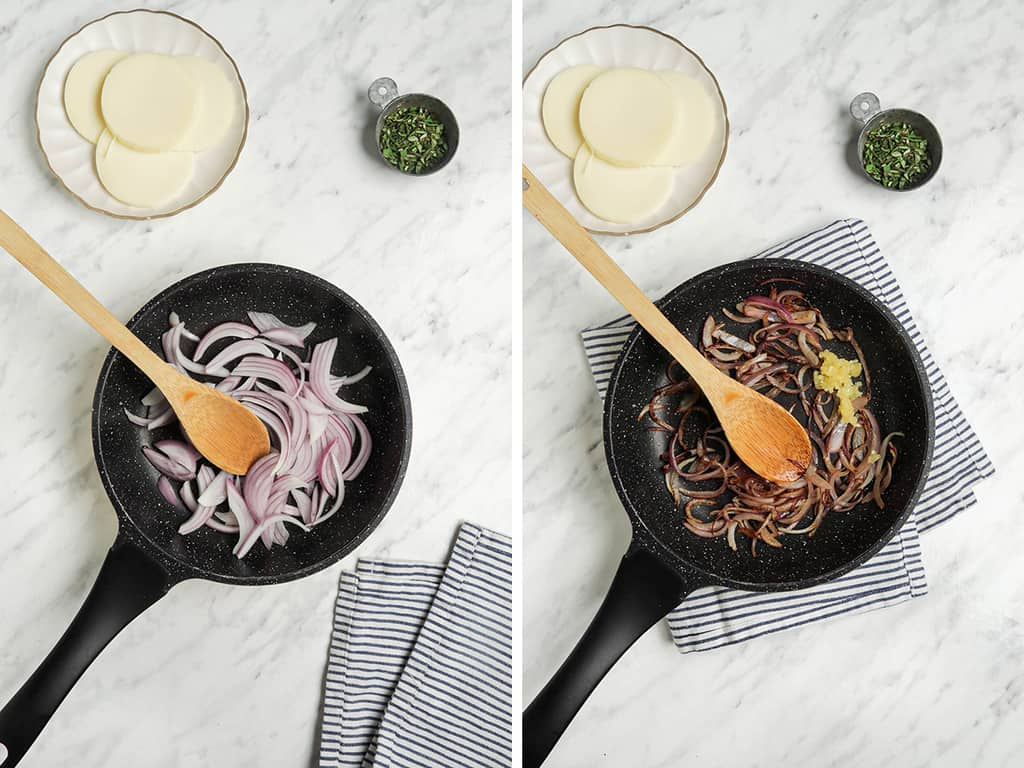 onions cooking in pan