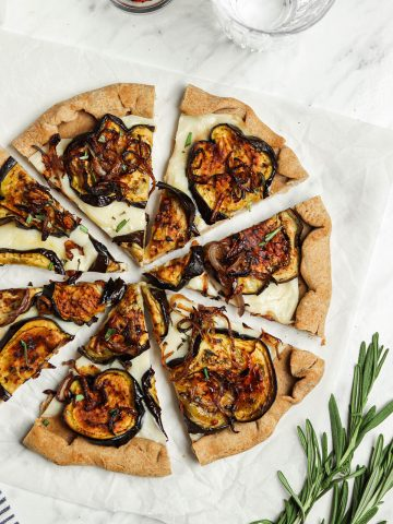 top view of eggplant pizza with vegan cheese