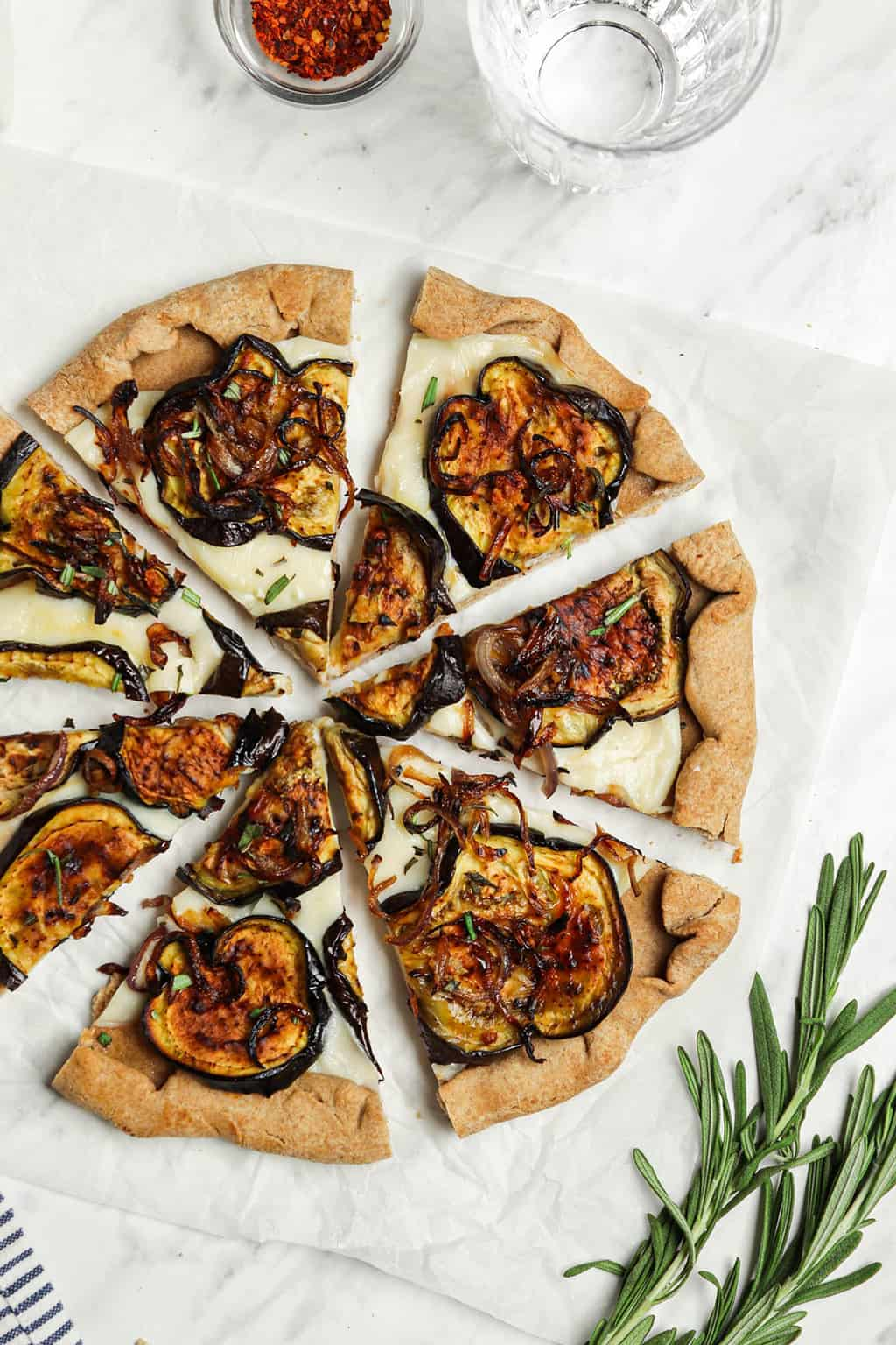top view of pizza with roasted eggplant