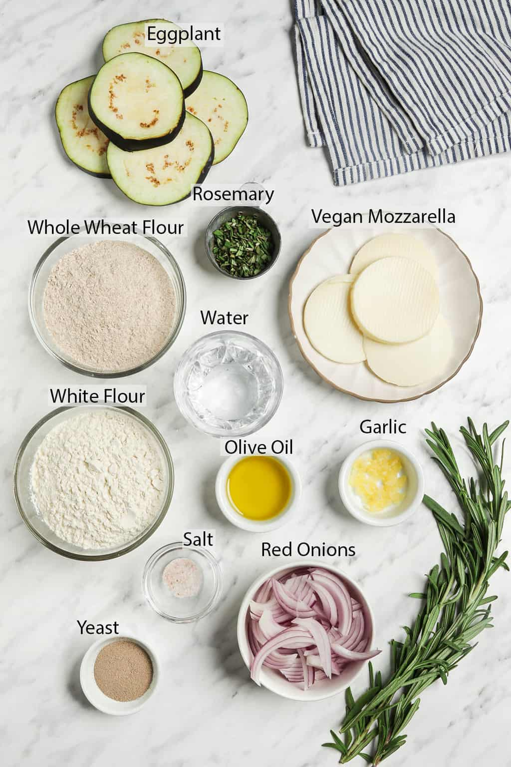 ingredients for eggplant pizza
