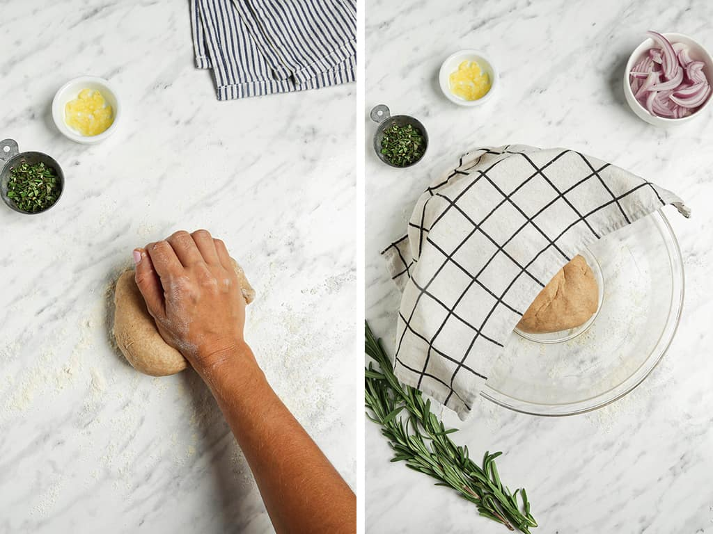 kneading dough on surface