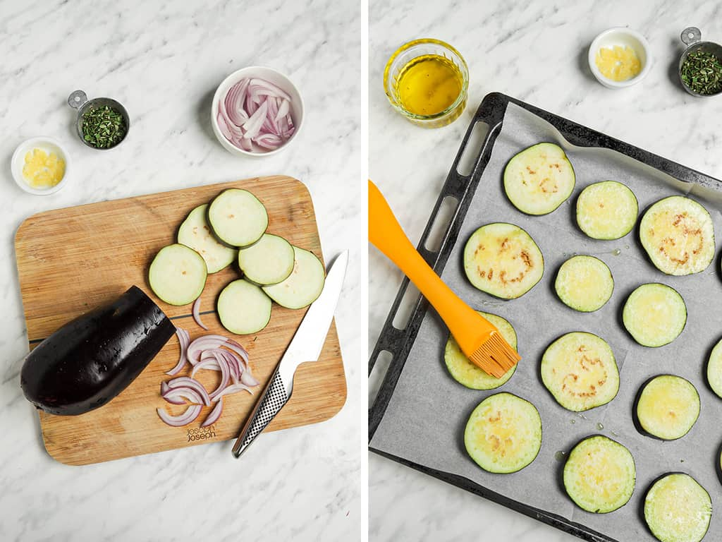 placing eggplant slices on baking sheet