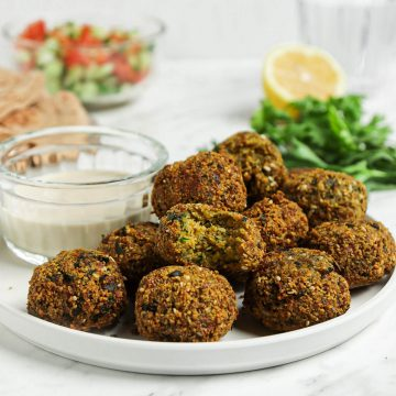 falafel on white plate