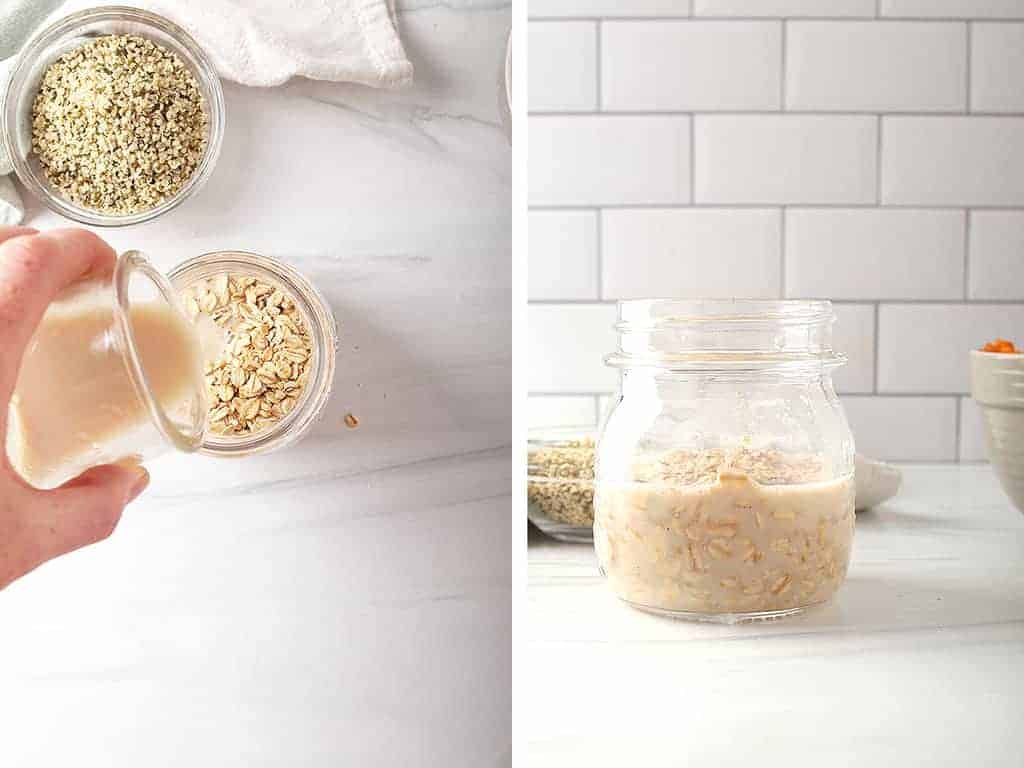 Milk and oats combined in a small mason jar.