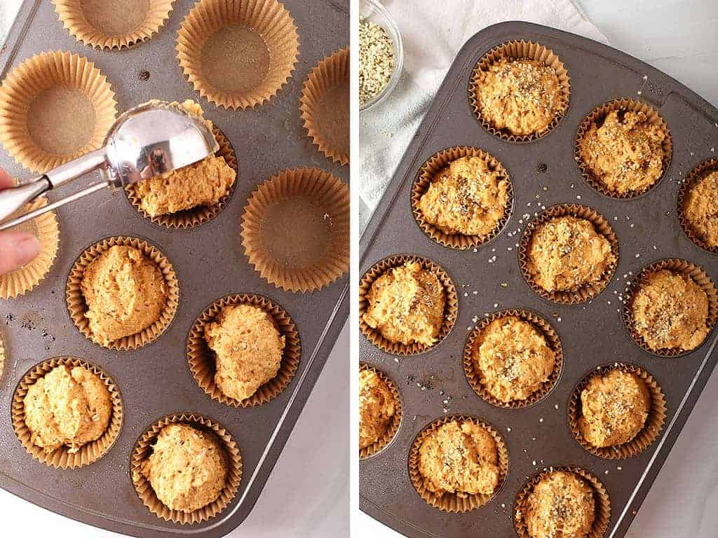 Pumpkin muffin batter scooped into the prepared muffin tins and topped with hemp hearts.