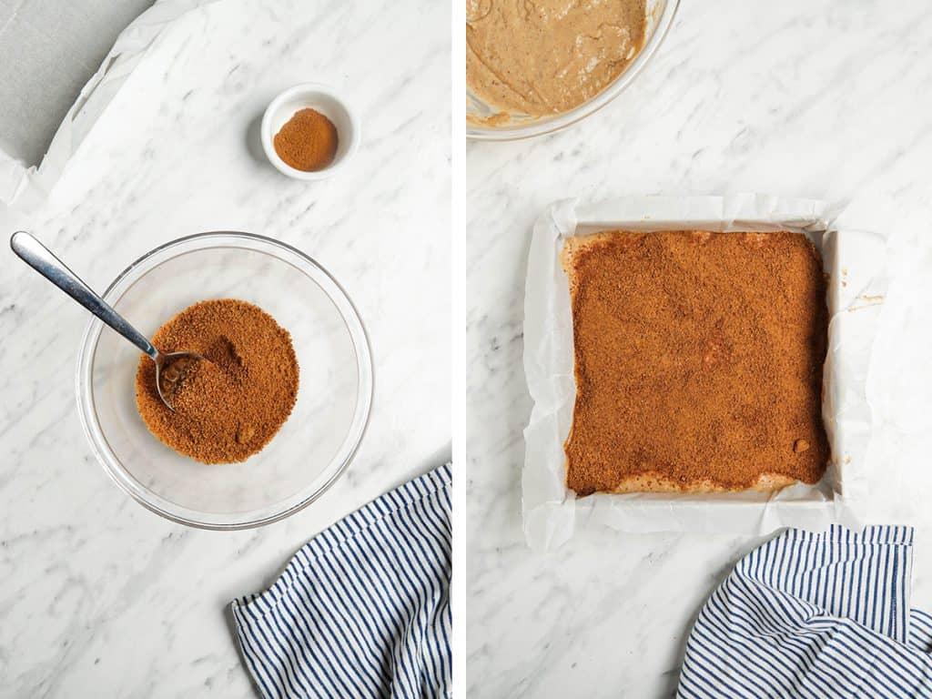 cinnamon filling on top of batter in cake pan