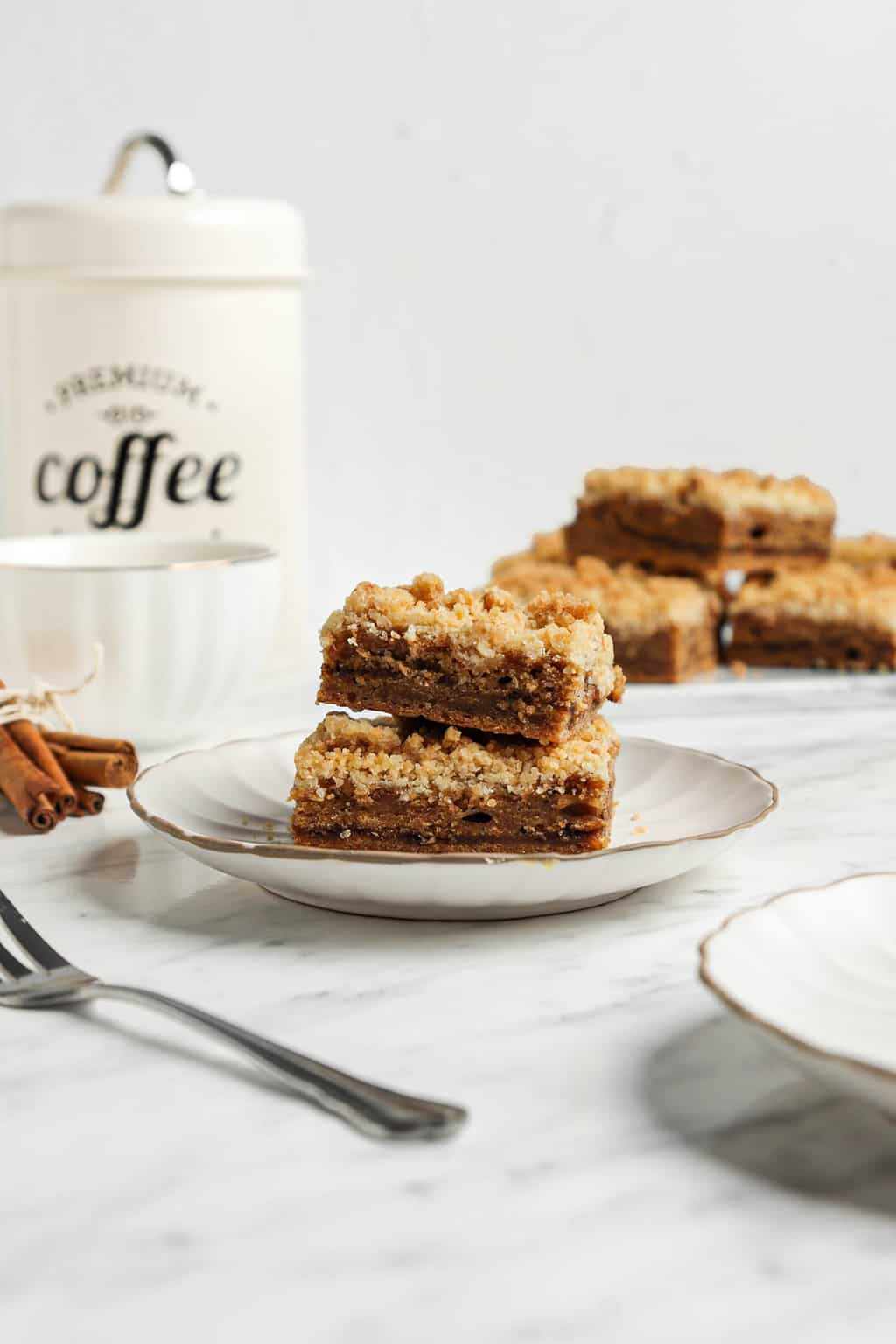 two slices of coffee cake on white plate
