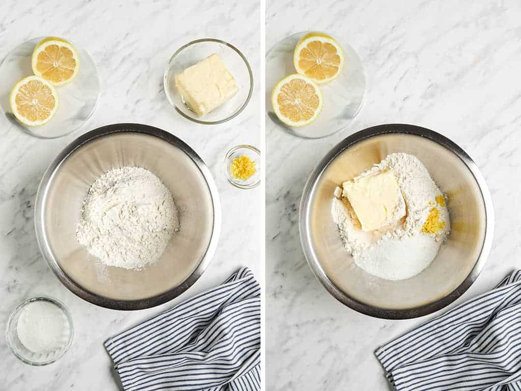 dry ingredients in bowl with butter