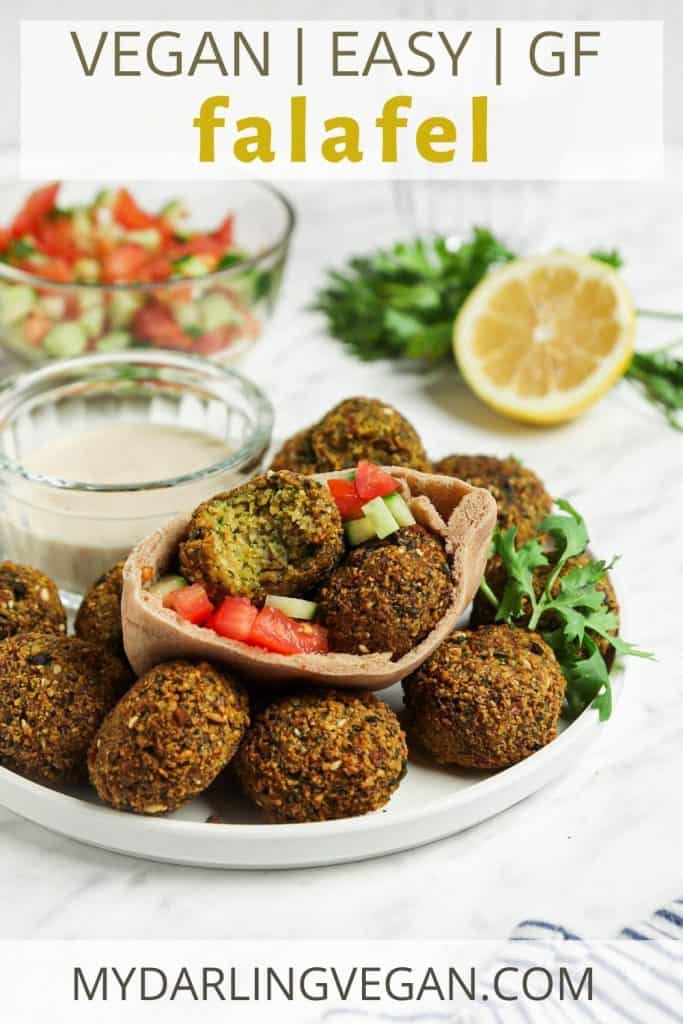Pinterest graphic for falafel on plate