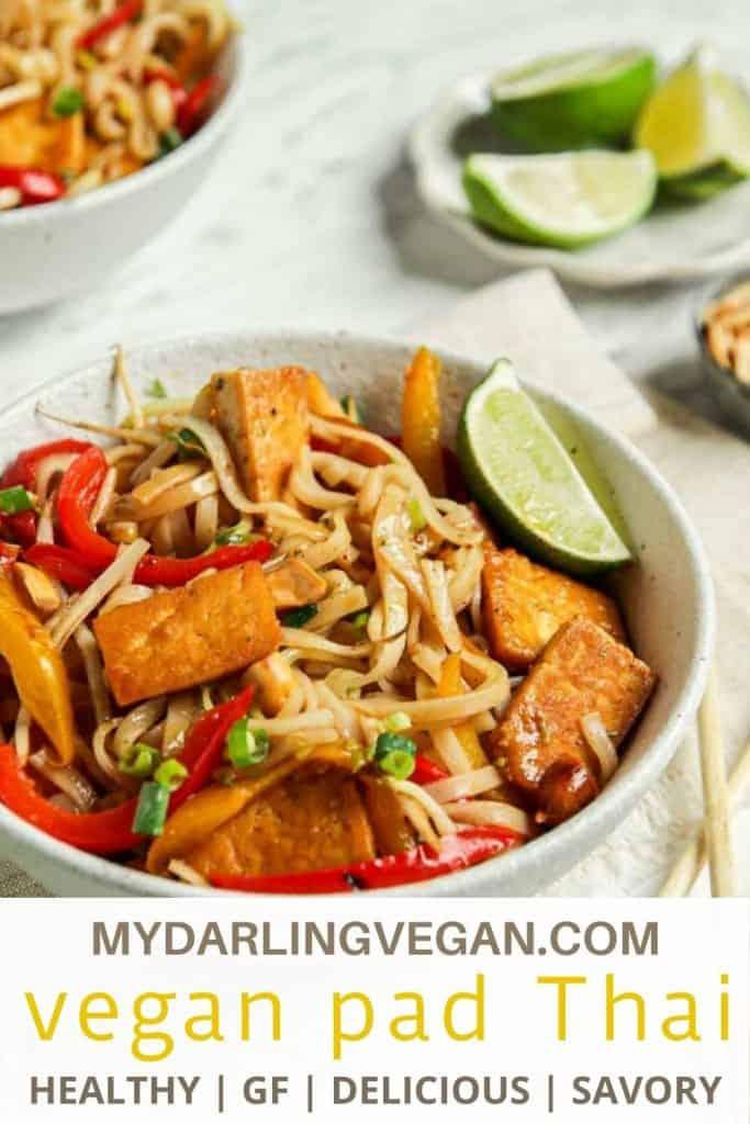 Pinterest graphic for vegan pad Thai