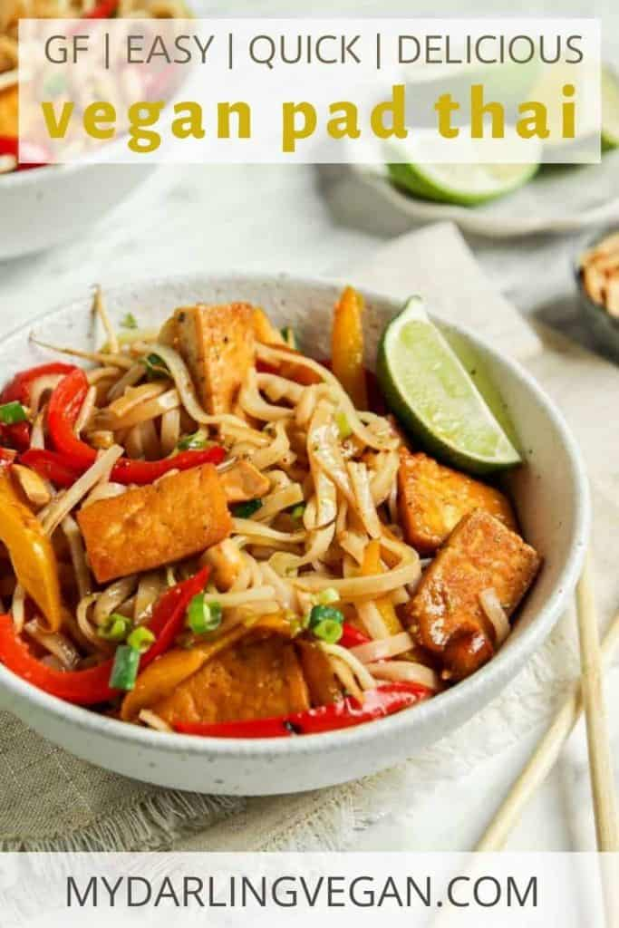vegan pad Thai in white bowl