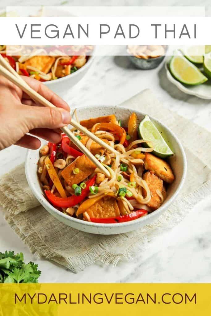vegan pad Thai with chopsticks