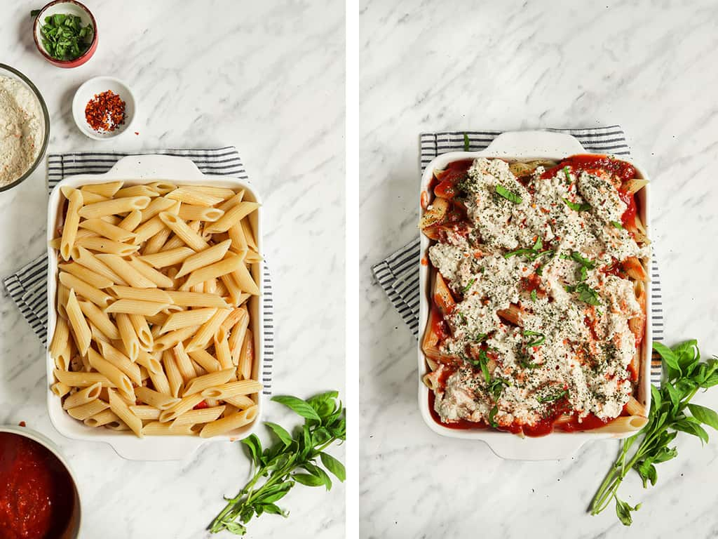 two images showing penne pasta in baking dish for baked ziti then adding marinara sauce and ricotta cheese to the pasta with basil and herbs