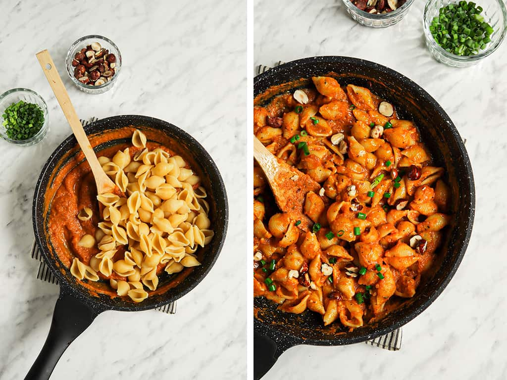 one photo of cooked pasta being stirred into skillet with vegan alfredo sauce made with pumpkin. Second photo is pasta mixed with sauce in skillet with chives and hazlenuts with wooden spoon.