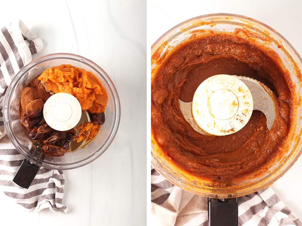making a pumpkin filling with dates and pumpkin
