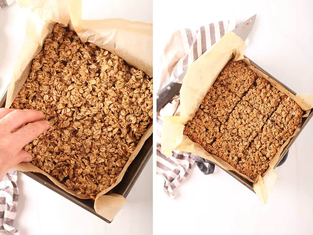gluten-free pumpkin oatmeal bars in dish