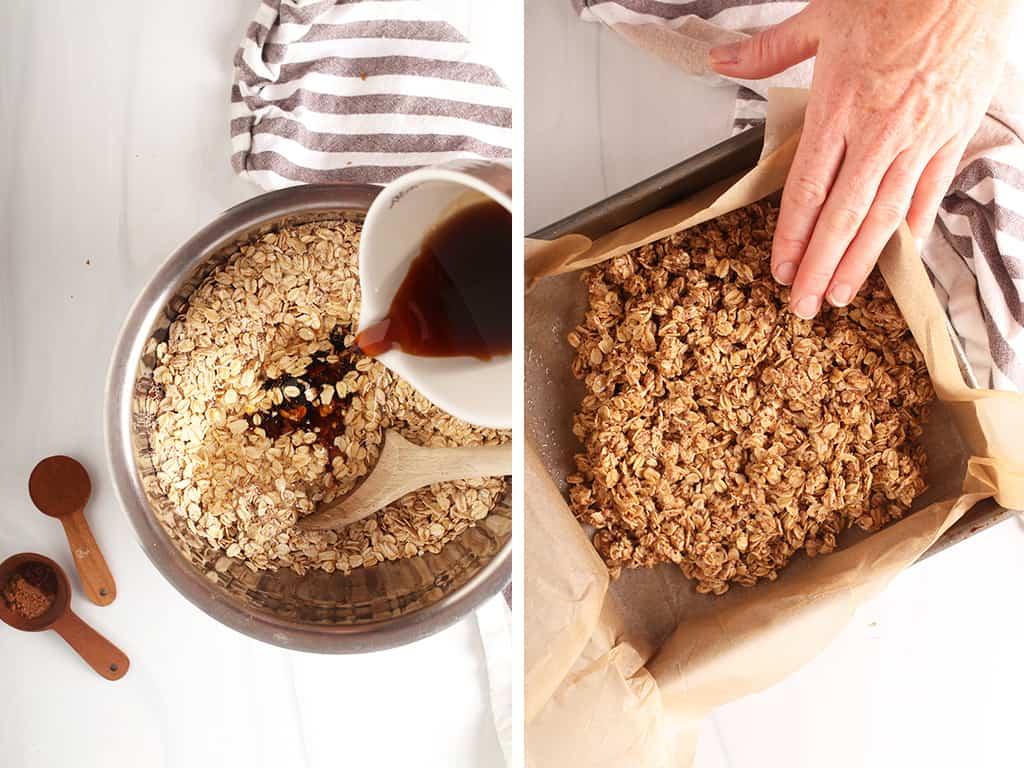 making oat crumble for pumpkin bars