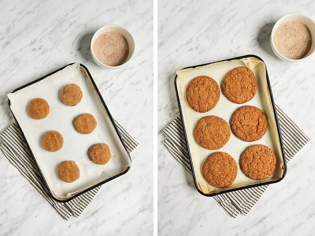six cookies on a baking sheet with parchment paper next to cinnamon sugar
