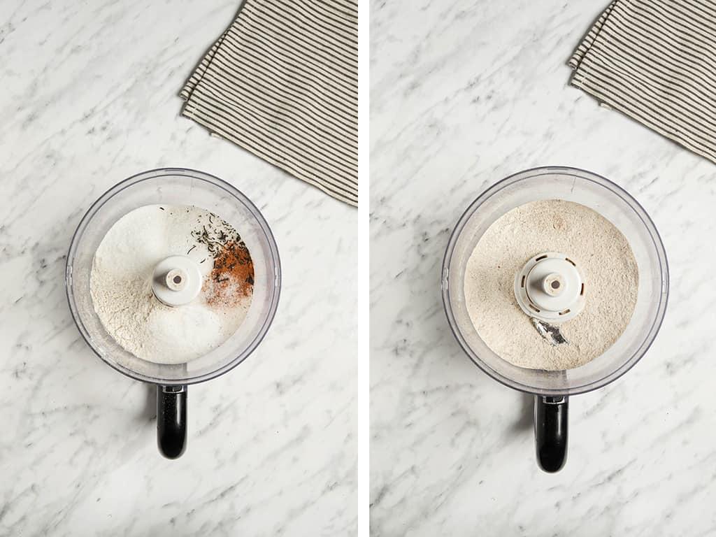 flour, baking soda and powder, salt, cinnamon, allspice, clove, ginger, nutmeg, and black tea in food processor on white surface