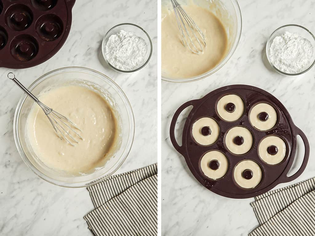 one bowl of vegan donut recipe batter and another bowl of flour. Another photo of a donut baking pan filled with doughnut batter.