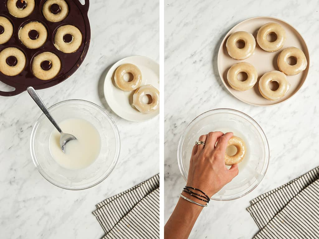 one step of showing the baked vegan donut recipe in a baking pan and making the vanilla icing in a bowl with a spoon. One plate with two glazed donuts to the side