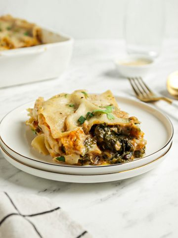 one slice of butternut squash lasagna with kale